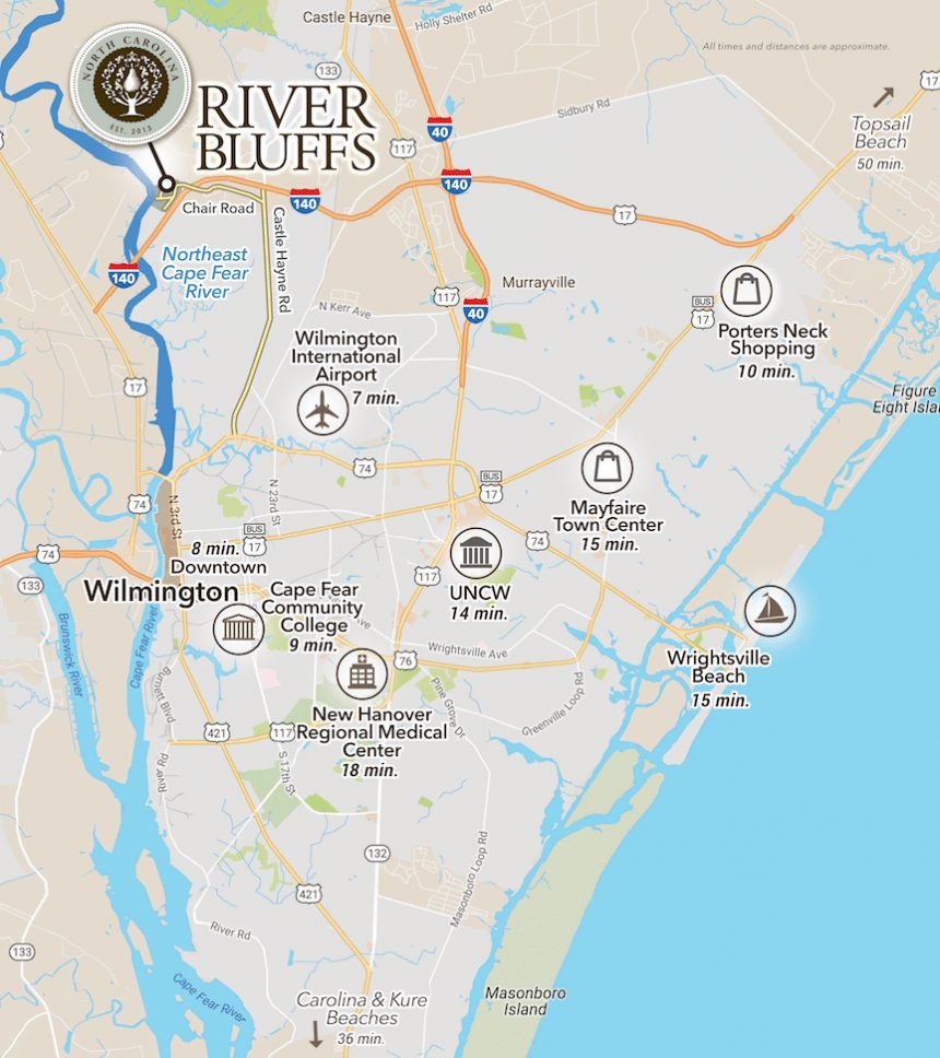 The Cape Fear Area | River Bluffs Living Map Of Historic Downtown Wilmington Nc on map of historic southport nc, map of historic downtown new bern nc, map of historic downtown huntsville al,