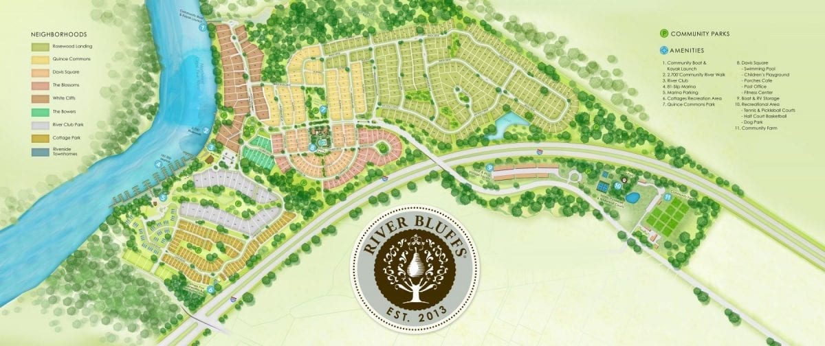 Map of home lots within River Bluffs Neighborhood