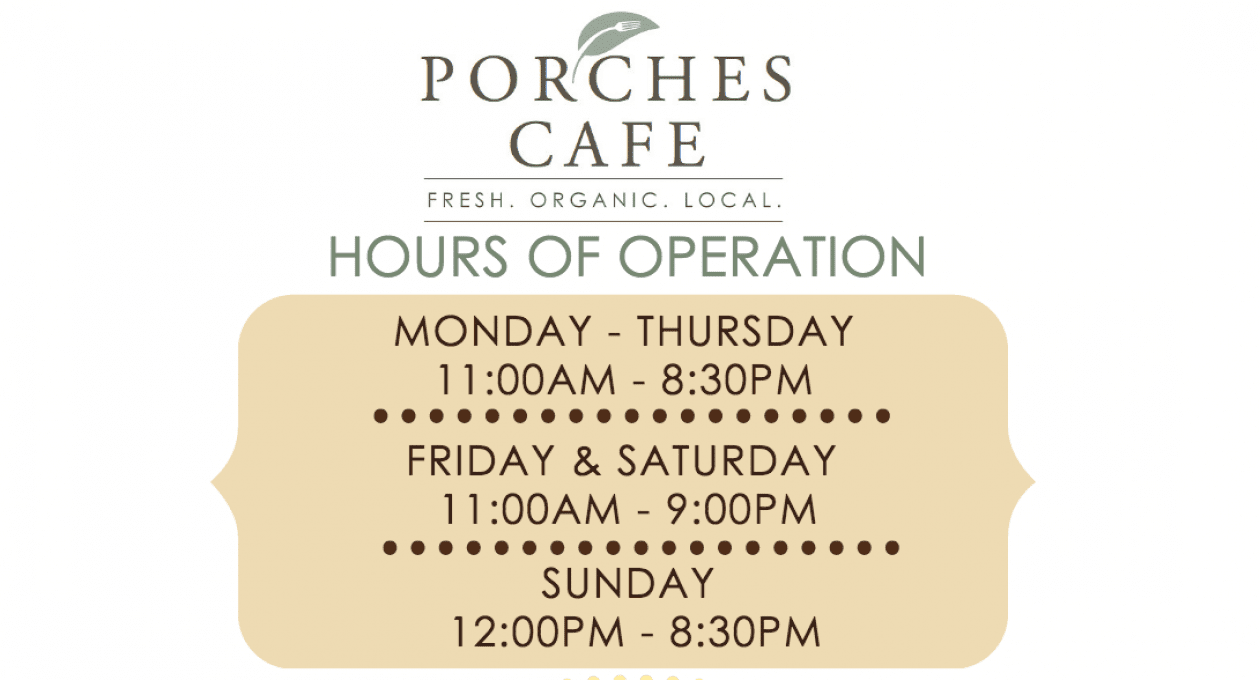Open for Dinner: Porches Cafe Extends Hours and Menu